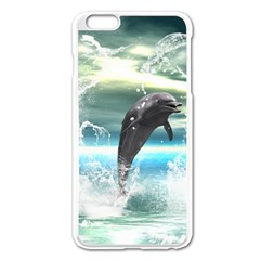 Funny Dolphin Jumping By A Heart Made Of Water Apple Iphone 6 Plus/6s Plus Enamel White Case