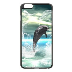 Funny Dolphin Jumping By A Heart Made Of Water Apple iPhone 6 Plus/6S Plus Black Enamel Case