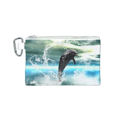 Funny Dolphin Jumping By A Heart Made Of Water Canvas Cosmetic Bag (S)
