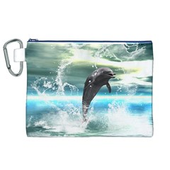 Funny Dolphin Jumping By A Heart Made Of Water Canvas Cosmetic Bag (XL)