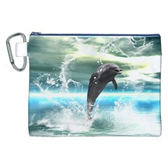 Funny Dolphin Jumping By A Heart Made Of Water Canvas Cosmetic Bag (XXL)