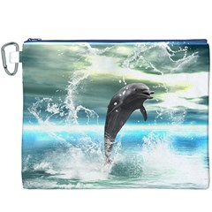 Funny Dolphin Jumping By A Heart Made Of Water Canvas Cosmetic Bag (XXXL)