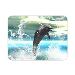 Funny Dolphin Jumping By A Heart Made Of Water Double Sided Flano Blanket (Mini)