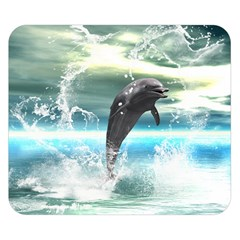 Funny Dolphin Jumping By A Heart Made Of Water Double Sided Flano Blanket (small)