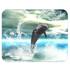 Funny Dolphin Jumping By A Heart Made Of Water Double Sided Flano Blanket (Medium)