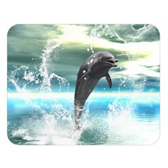Funny Dolphin Jumping By A Heart Made Of Water Double Sided Flano Blanket (Large)