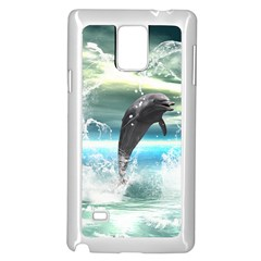 Funny Dolphin Jumping By A Heart Made Of Water Samsung Galaxy Note 4 Case (white)