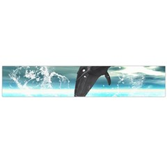 Funny Dolphin Jumping By A Heart Made Of Water Flano Scarf (Large)