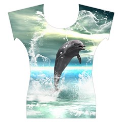 Funny Dolphin Jumping By A Heart Made Of Water Women s Cap Sleeve Top