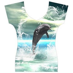 Funny Dolphin Jumping By A Heart Made Of Water Women s V-Neck Cap Sleeve Top