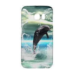 Funny Dolphin Jumping By A Heart Made Of Water Galaxy S6 Edge