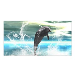 Funny Dolphin Jumping By A Heart Made Of Water Satin Shawl
