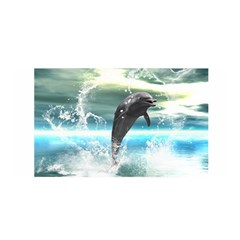 Funny Dolphin Jumping By A Heart Made Of Water Satin Wrap