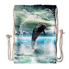 Funny Dolphin Jumping By A Heart Made Of Water Drawstring Bag (Large)