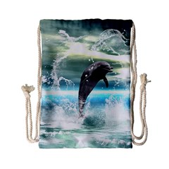 Funny Dolphin Jumping By A Heart Made Of Water Drawstring Bag (Small)