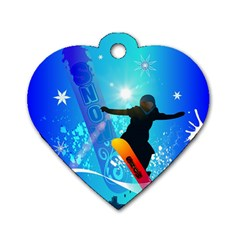 Snowboarding Dog Tag Heart (One Side)