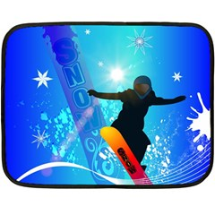 Snowboarding Double Sided Fleece Blanket (mini)