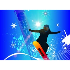 Snowboarding Birthday Cake 3D Greeting Card (7x5)