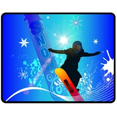 Snowboarding Double Sided Fleece Blanket (medium)