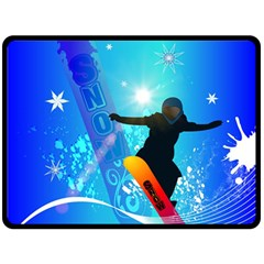 Snowboarding Double Sided Fleece Blanket (large)