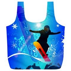 Snowboarding Full Print Recycle Bags (l)