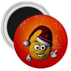 Cute Funny Christmas Smiley With Christmas Tree 3  Magnets