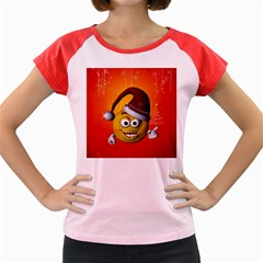 Cute Funny Christmas Smiley With Christmas Tree Women s Cap Sleeve T-Shirt