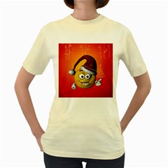 Cute Funny Christmas Smiley With Christmas Tree Women s Yellow T-Shirt