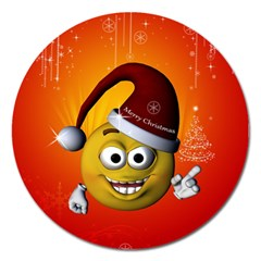 Cute Funny Christmas Smiley With Christmas Tree Magnet 5  (round)