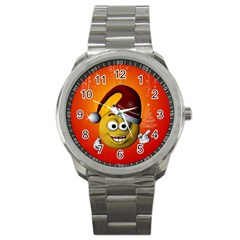 Cute Funny Christmas Smiley With Christmas Tree Sport Metal Watches