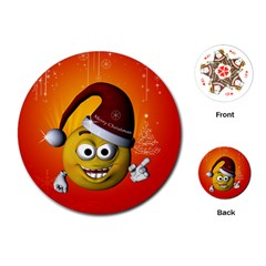 Cute Funny Christmas Smiley With Christmas Tree Playing Cards (Round)