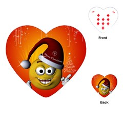 Cute Funny Christmas Smiley With Christmas Tree Playing Cards (Heart)