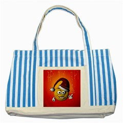 Cute Funny Christmas Smiley With Christmas Tree Striped Blue Tote Bag