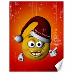 Cute Funny Christmas Smiley With Christmas Tree Canvas 12  x 16