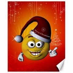 Cute Funny Christmas Smiley With Christmas Tree Canvas 16  x 20