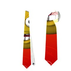 Cute Funny Christmas Smiley With Christmas Tree Neckties (One Side)