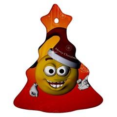 Cute Funny Christmas Smiley With Christmas Tree Christmas Tree Ornament (2 Sides)