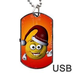 Cute Funny Christmas Smiley With Christmas Tree Dog Tag Usb Flash (one Side)