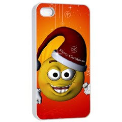 Cute Funny Christmas Smiley With Christmas Tree Apple Iphone 4/4s Seamless Case (white)