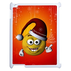 Cute Funny Christmas Smiley With Christmas Tree Apple iPad 2 Case (White)