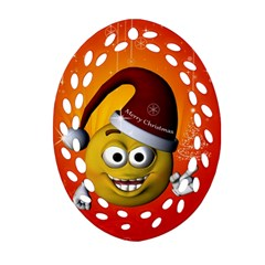 Cute Funny Christmas Smiley With Christmas Tree Ornament (oval Filigree)