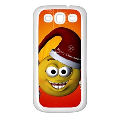 Cute Funny Christmas Smiley With Christmas Tree Samsung Galaxy S3 Back Case (White)