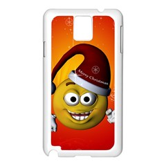 Cute Funny Christmas Smiley With Christmas Tree Samsung Galaxy Note 3 N9005 Case (White)