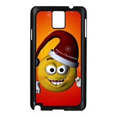 Cute Funny Christmas Smiley With Christmas Tree Samsung Galaxy Note 3 N9005 Case (Black)