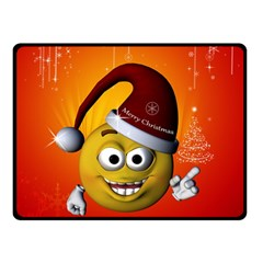 Cute Funny Christmas Smiley With Christmas Tree Double Sided Fleece Blanket (Small)