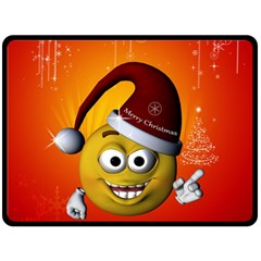 Cute Funny Christmas Smiley With Christmas Tree Double Sided Fleece Blanket (Large)