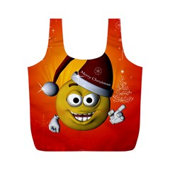 Cute Funny Christmas Smiley With Christmas Tree Full Print Recycle Bags (m)