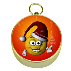 Cute Funny Christmas Smiley With Christmas Tree Gold Compasses