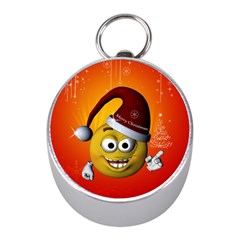 Cute Funny Christmas Smiley With Christmas Tree Mini Silver Compasses