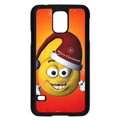 Cute Funny Christmas Smiley With Christmas Tree Samsung Galaxy S5 Case (Black)